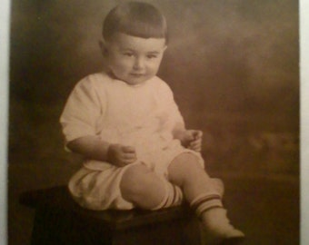 1930's Antique Black and White Photo Portrait of a Young Boy