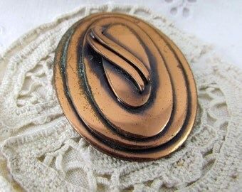 Broach Pendant Copper Modern Art Deco