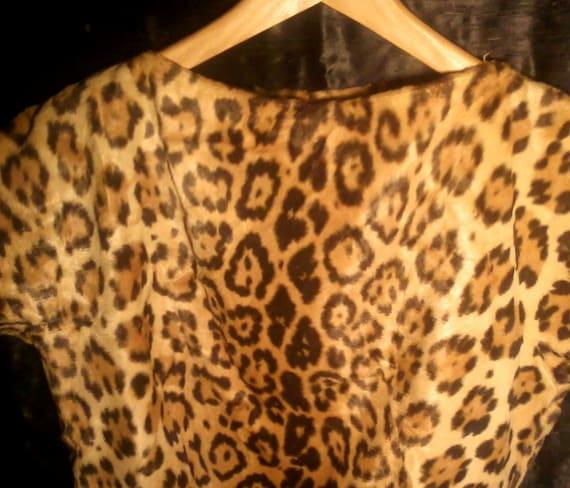 RESERVED FOR KATIE Leopard Print 1950's Retro Rockabilly Blouse Velvet Bakelite Buttons