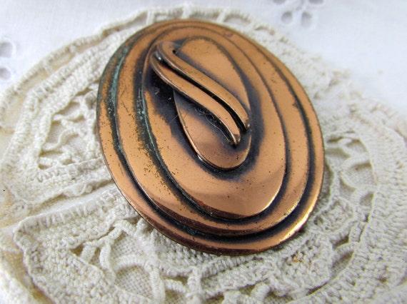Broach Pendant Copper Modern Art Deco