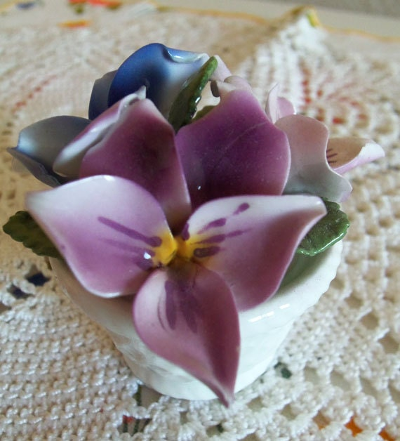 Crown Staffordshire Posy of Violets in Basket February