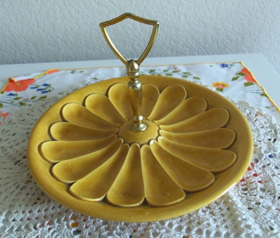 1950s Single Tier Tidbit Serving Tray Mustard Yellow Harvest Gold