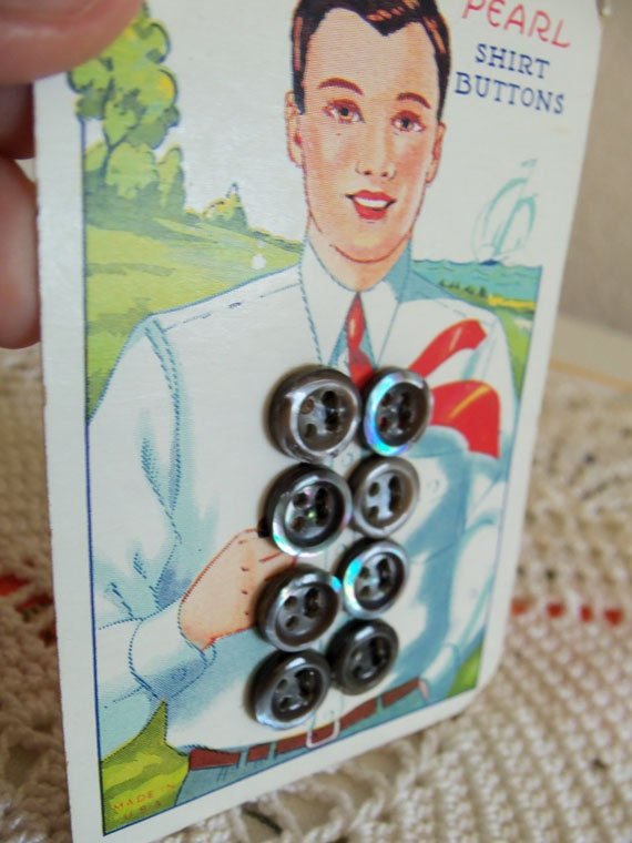 Vintage Mother of Pearl Shirt Buttons Original Card Backing Blue Grey Tones