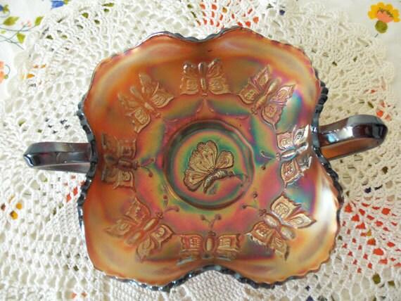Vintage 1920s Fenton Butterfly Carnival Glass Bon Bon Bowl Ameythst