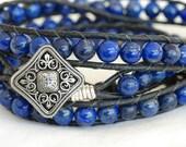 A beautiful Blue Lapis Triple Chan Luu style Leather Wrap Bracelet