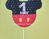 Mickey or Minnie Mouse silhouette with numbers Beeswax Birthday Candle