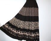 Vintage Bohemian Black White Tiered Full Circle Maxi Skirt   Cowgirl Western Skirt Size Small