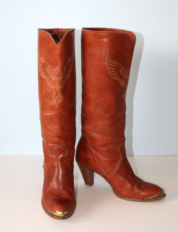 Vintage DINGO BOOTS // Tall Campus COWGIRL Boots   Saddle Leather Western Boots //  Size 7 1/2