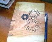 Daisy Flower Notebook - Journal Wood Burnt - Custom Cover Work