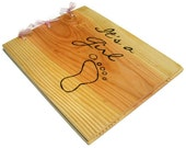 """Wooden Baby Girl Book - Shower Guest Book - Its A Girl, 10""""x12"""" - Custom Cover"""