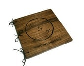 Custom Wooden Photo Album 10.5x10.5 - Personalized Wood Scrapbook -Woodburnt With Your Design