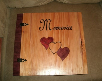 "Scrapbook Wedding Album - Wood Album - Inlay ""Memories"" Photo Album 12"" x 12"" - Custom Cover Work"