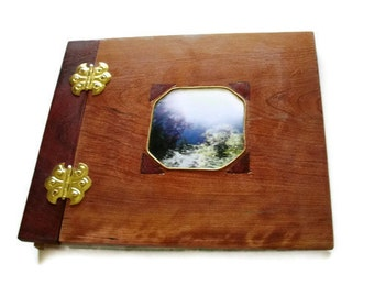 "Scrapbook Photo Album - 12"" x 12"" Wooden Scrapbook - Inlay and Recessed Photo Placement"