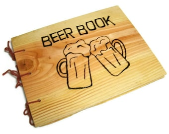 Wooden Brew Log Book -Larger Beer Book Notebook - Journal Wood Burnt -Custom Cover Work