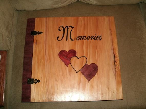 "Scrapbook Wedding Album - Wood Album - Inlay ""Memories"" Photo Album 12"" x 12"" - Custom Cover Work"