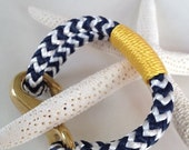 Navy & White Nautical Rope Bracelet with Gold Wrap and a Bronze Clasp