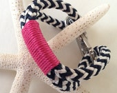 Navy & White Nautical Rope Bracelet with Pink Wrap and a Stainless Steel Clasp