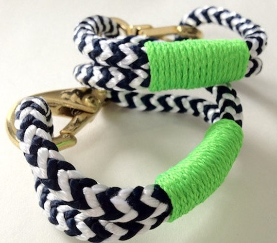 Navy & White Nautical Rope Bracelet with Lime Green Wrap and a Bronze Clasp