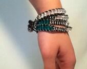 Emerald Glass Bead 4 Wrap Bracelet