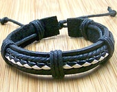 personalized  black leather bracelets wristband with black  and white cord for men women with  adjustable length