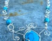Spiraled Turquoise Pendant Necklace