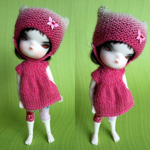 Pink kitty-hat set for Secretdoll person