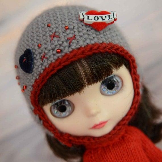 OOAK Valentines love Neo Blythe doll handmade helmet  Alpaca and silk