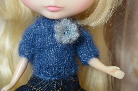 Navy and silver super kid mohair  silk sweater with removable corsage decorated with swarovski beading Blythe pullip licca