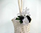 CLEARANCE Black & white flower girl wedding basket bow, Flower girl basket bow, Gift for young girls, Bow for weddings, Wedding decor (W36)