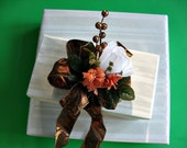 CLEARANCE White and orange fall gift bow with bronze glitter berries/ Gift wrapping bow/  Bow for wreaths and baskets/ Large gift bow (A3)
