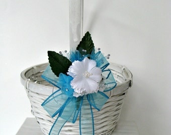 CLEARANCE Flower girl bow, Aqua/Turquoise bow, Flower girl basket bow, Wedding gift bow, Wedding decoration, Bow for little girls (W49)