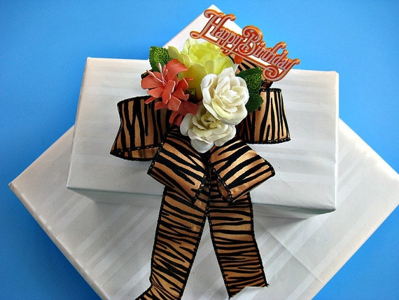 Birthday gift wrap bow, tiger ribbon, package decoration, Tiger stripe bow, Orange and cream bow (HB11)