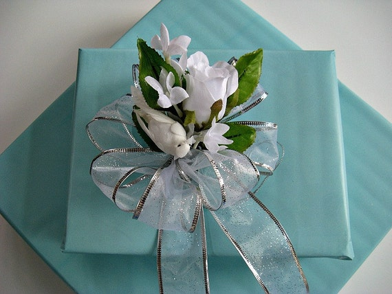 White Wedding/Bridal Shower bow with a white feathered dove and silk flowers (W5)