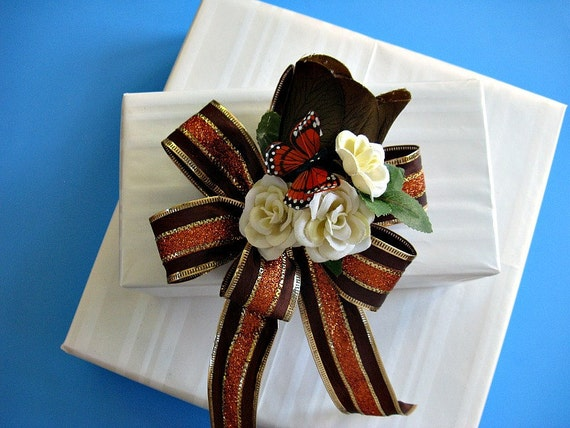 All occasion gift wrap bow in browns and copper (GN19)