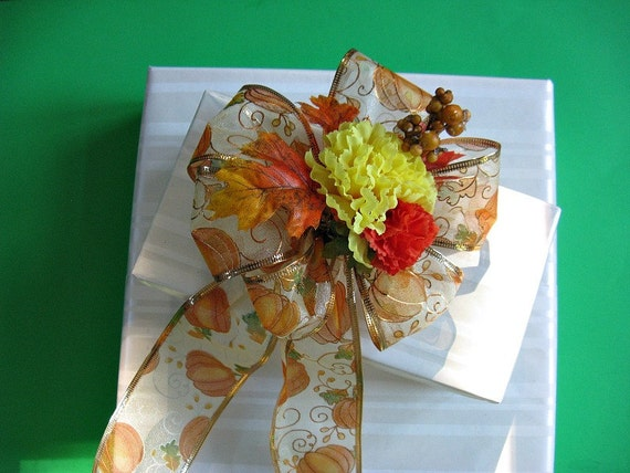 Autumn/Fall Gift Wrap bow in orange and yellow (A1)