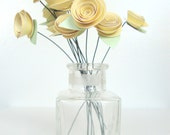 RESERVED for Brook - Paper Roses, Pastel Yellow: Set of 12