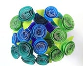 Paper Roses: Peacock Teal, Lime, Blue - Bright, Vibrant Home Decor