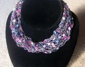 Blue, Pink and Gold Ladder Yarn Necklace -- Adjustable Length