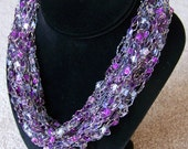 Purple Ladder Yarn Necklace -- Adjustable Length