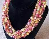 Red/Gold Ladder Yarn Necklace -- Adjustable Length