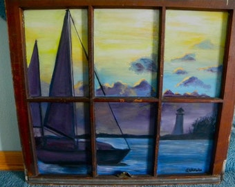 "30x40"" original oil painting sailboat"