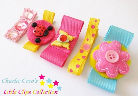 "Hair Clips for Girls, Felt Flowers, Butterflies, Ladybugs and Bow Hair Clips- ""Pretty Circus"""