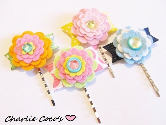 Felt Flower Hair Pins, Flower Bobby Pins, Girls Bobby PIns, Children Spring, Summer Accessories