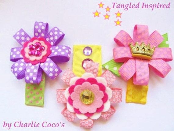 """Felt Flower Hair Clips, Disney Tangled Inspired Hair Clip Set, Rapunzel, Fabric Flower Hair Clips- """"Tangled"""""""