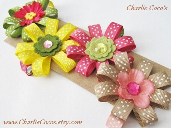 "Flower Hair Bows for Girls, Toddler, Baby, Flower Hair Clip Set, Assorted Hair Bow Clip Set of 4- ""Khaki Jungle Safari"""