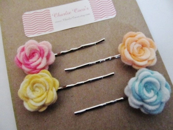 "Girls Felt Flower Bobby Pin Hair Clip Set, Flower Bobby Pins ""Sweet Swirls"""
