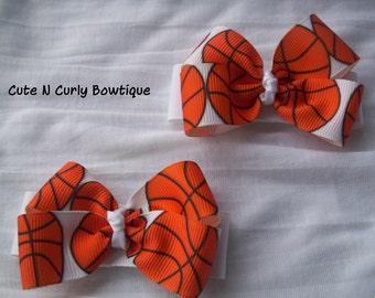 Basketball Hair bow Girls Sports Hair bows Orange Black White Hair bows for Girls Sports Baby Bows Girls Basketball Bow Hair Clip Babies
