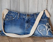 Scull And Heart Blue Denim Bag