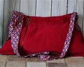 Red Corduroy Bag With Silk Tie Strap
