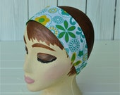 Retro Reversible Headband Women's  And Teens In Green Yellow And Turquoise 1